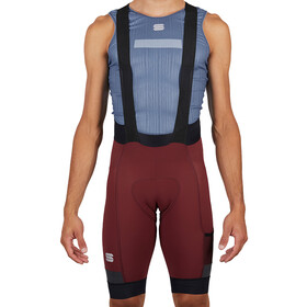 Sportful Supergiara Bib Shorts Heren, red wine